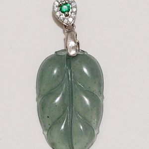 Authentic type A real lucky jade pendant leaf